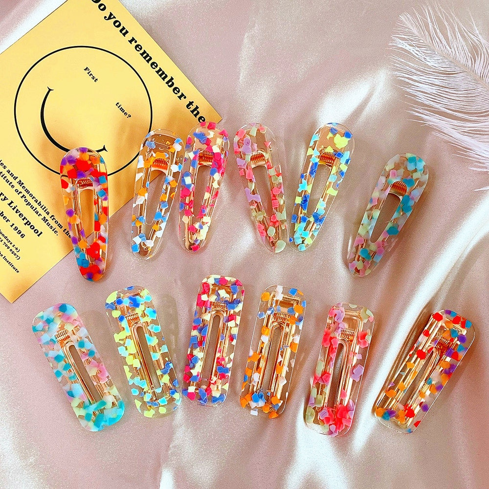 New Women Girls Korea Acrylic Hollow Waterdrop Rectangle Hair Clips Sequins Hairpins Barrettes Accessories