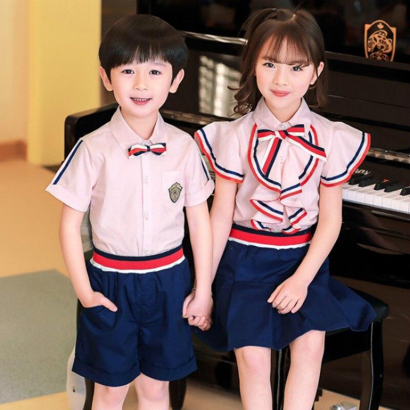 Ropa de jardín de niños vestido de verano uniforme de escuela primaria de viento británico traje de verano de manga corta uniforme para niños