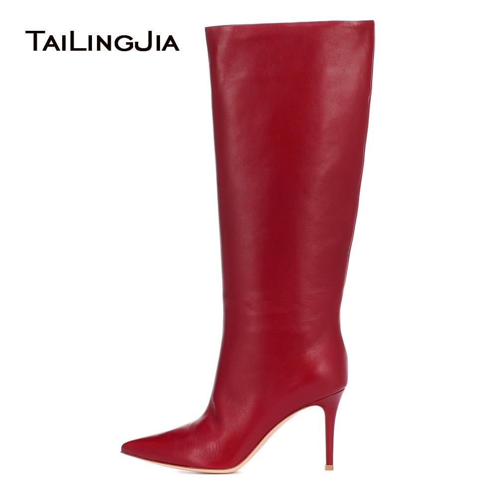 2019 Winter Knee High Boots Women Stiletto Heel Pointed Toe Factory Handmade Ladies Slip on Large size High Heel Long Boot Warm