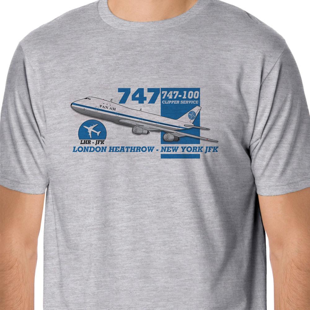100 % Cotton T Shirt For Men Design Tops Retro Flight - Pan Am Boeing 747 Heathrow - New York Design Korean T-Shirts