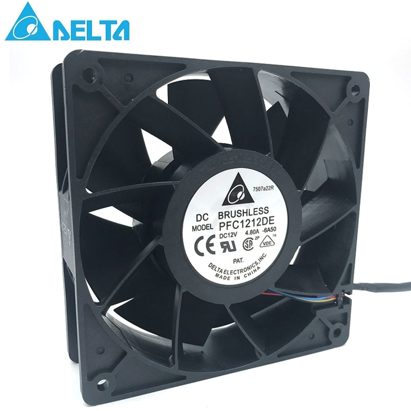 Original for delta PFC1212DE For Bitcoin GPU miner powerful cooling fan 120*120*38mm 12V PWM 4-pin 252.8 CFM 5500 RPM66.5 dB(A) new nmb original 12038 24v 0 46a 4715kl 05t b40 120 120 38mm cooling fan