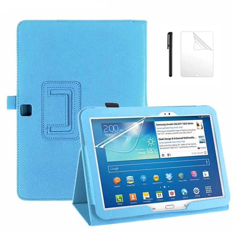 Litchee Flip Matte PU Leder Fall Für Samsung Galaxy Tab 3 10,1 zoll P5200 P5210 P5220 GT-P5200 Tablet schutzhülle + Film + Stift