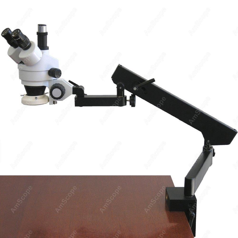 Microscope à Zoom articulé trinoculaire-AmScope fournit un Microscope à Zoom articulé trinoculaire 7X-45X + anneau lumineux