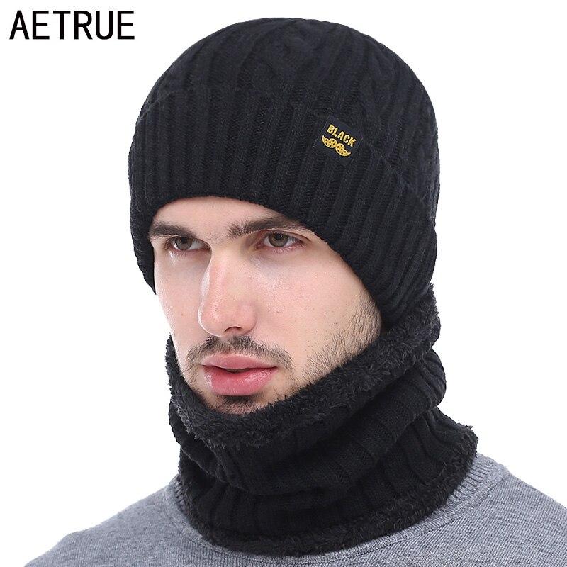 AETRUE-Bonnet écharpe Skullies pour hommes   Bonnet pour femmes, marque Gorras chaud, chapeaux laine noir pour hommes, Bonnet Bonnet