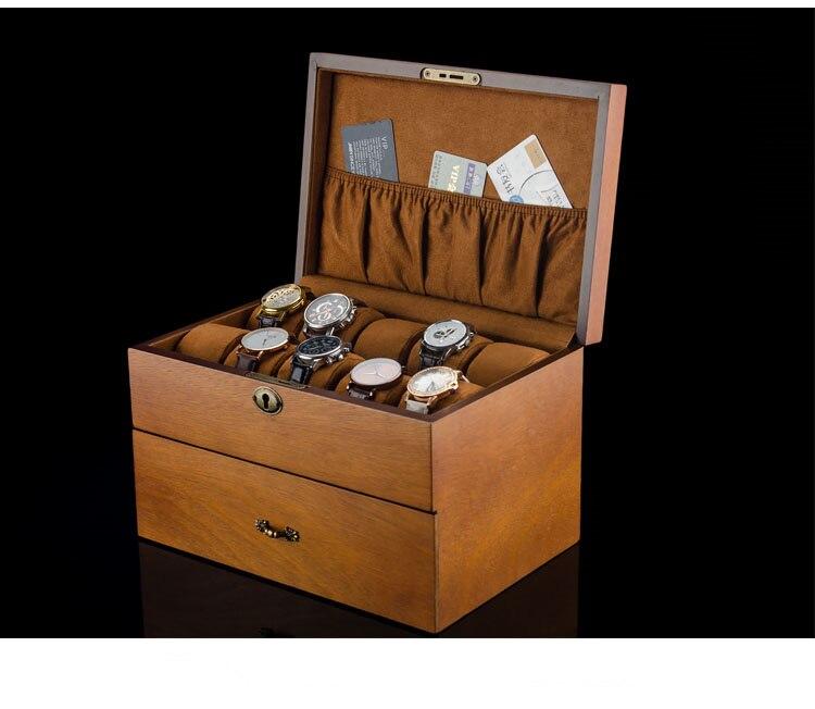 Caja de almacenamiento para relojes de 2 capas, organizador de relojes de madera con cerradura, caja de regalo para exhibir relojes de hombre, soporte para joyas