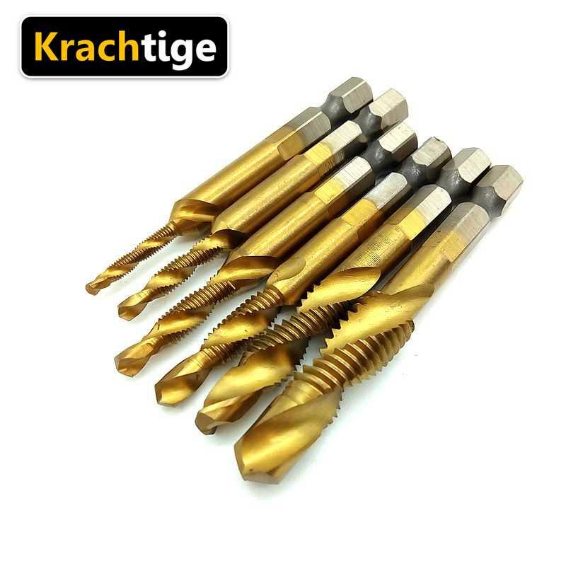 Kachtige 6 uds HSS4241 conjunto de broca de combinación de titanio M3 M4 M5 M6 M8 M10 Shank 1/4 taladro de Metal de placa de aluminio