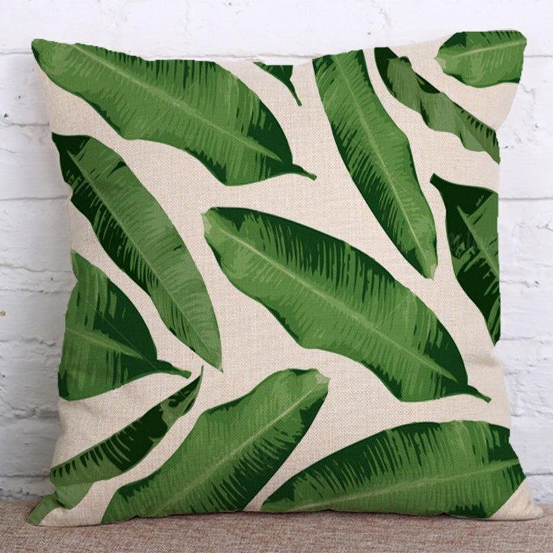 Funda de cojín de lino patrón de plantas tropicales FLC funda de almohada decorativa decoración del hogar sofá funda de almohada 45x45 cm 15