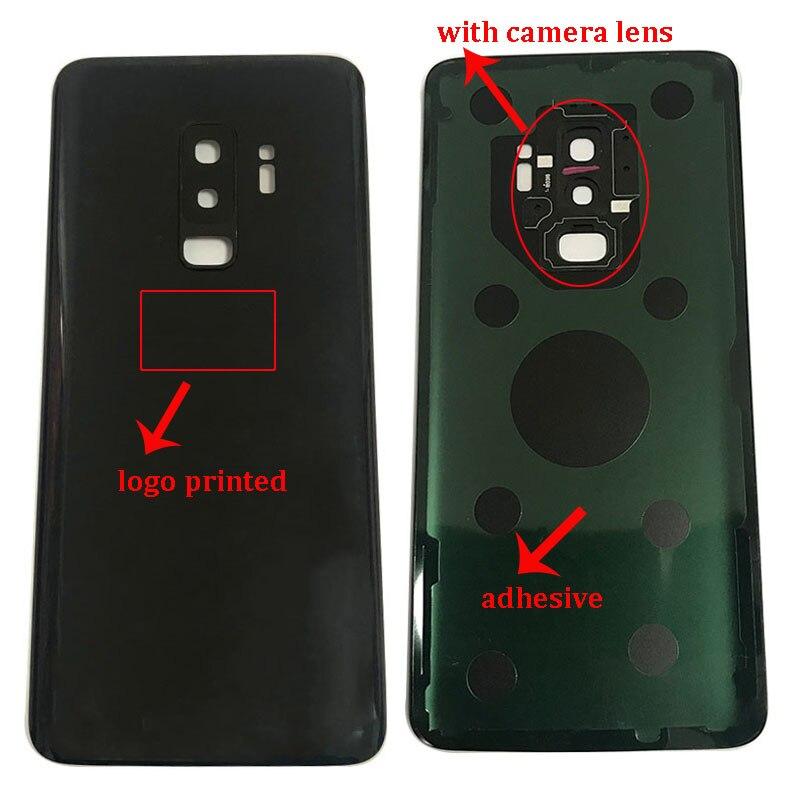 Reemplazo de cristal trasero para Samsung Galaxy S9 + S9 Plus G965 G965F, cubierta de batería, carcasa de cristal posterior de puerta trasera + cubierta de lente de cámara