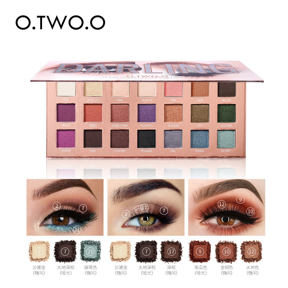 O.TW O.O-Paleta de sombra de ojos desnuda, 21 colores, sombra de ojos brillante, polvo brillante mate, resistente al agua, Paleta, Kit de cosméticos de belleza ahumado