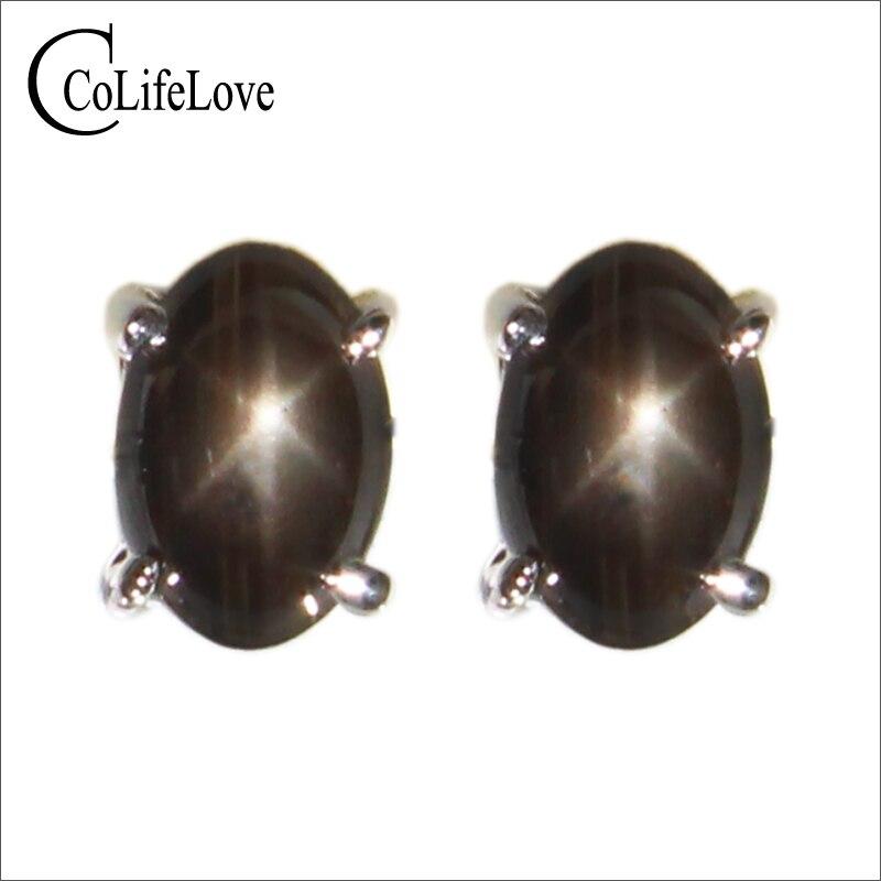 Pendientes de zafiro CoLife de 4x6mm con luz Natural de estrella, pendientes de zafiro de plata 925 para mujer de oficina, joyería de Zafiro auténtico
