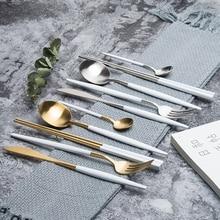 KuBac Hommi couteau fourchette en acier inoxydable   De qualité, service de vaisselle de fête, couverts en or blanc en argent, livraison directe 30 pièces