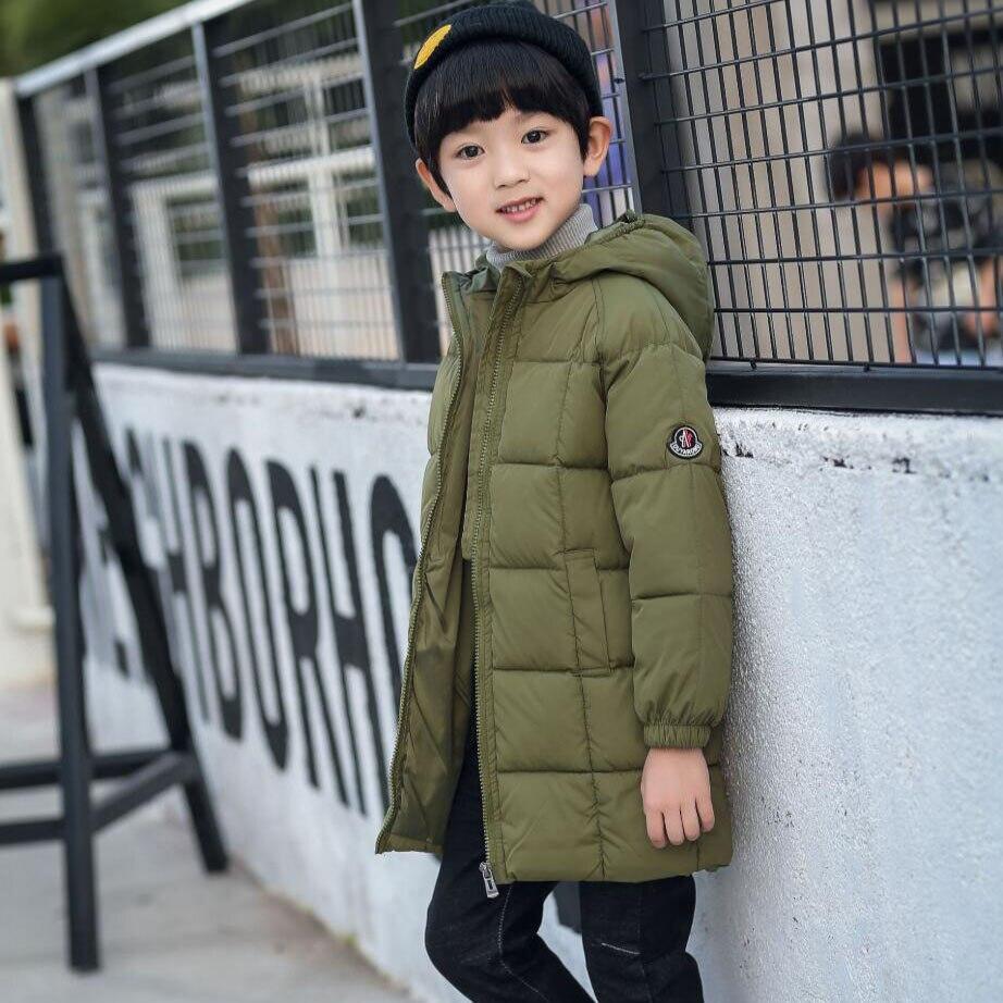 Chaqueta de invierno para niños, abrigo cálido de algodón grueso de estilo largo para niños, cortavientos para la nieve de 1 a 7 T hasta la rodilla, chaqueta capa