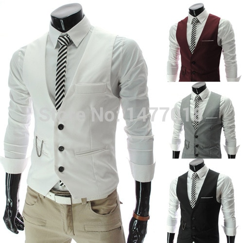 2021New Arrival Dress Vests For Men Slim Fit Mens Suit Vest Male Waistcoat Gilet Homme Casual Sleeveless Formal Business Jacket