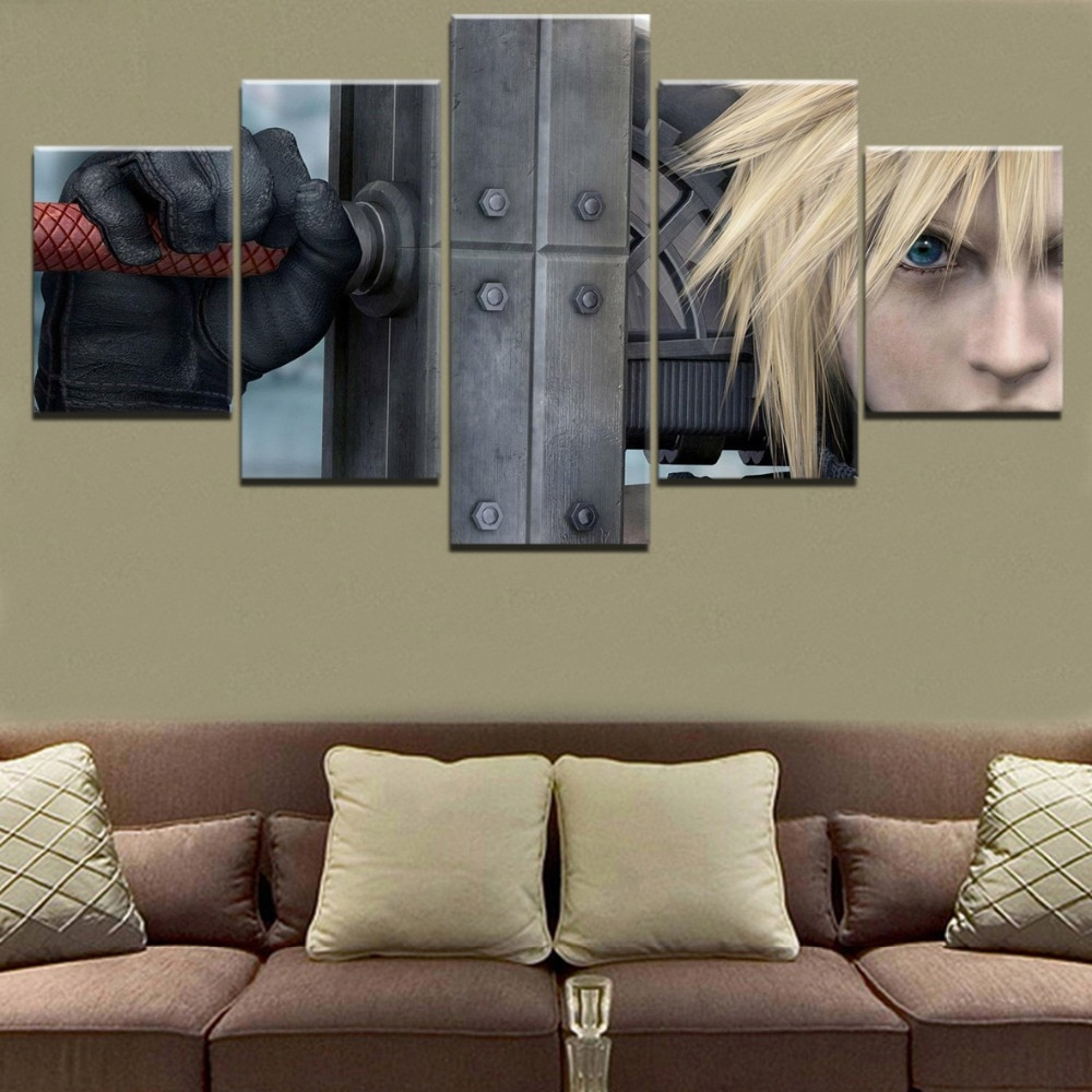Modulaire Foto Muur Frame Print Game Poster 5 Stuk Cloud Strife Final Fantasy VII Zwaard Canvas Schilderij Voor Living kamer