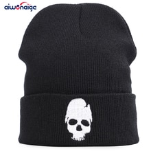 새로운 만화 두개골 가을과 겨울 자수 니트 모자 남성과 여성 겨울 모자 패션 야외 브랜드 따뜻한 두꺼운 디자인 아빠 모자