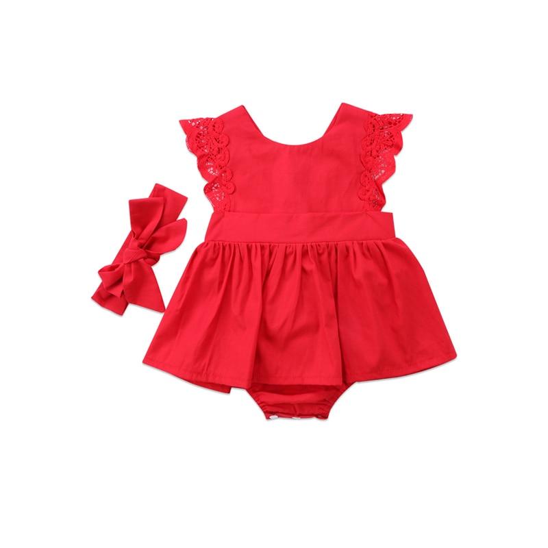 Recién Nacido bebé niñas bebé lindo algodón manga corta cuello redondo cubierto botón encaje rojo mono diadema 2 piezas traje 0 -24 M
