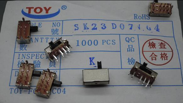 10pcs DP3T 2P3T 3 Position Mini Horizontal Slide Switch 8 Pin PCB SK23D07VG4