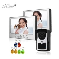one camera two monitors smart card reader 125khz rfid access control 7inch color screen video door phone wired video intercom