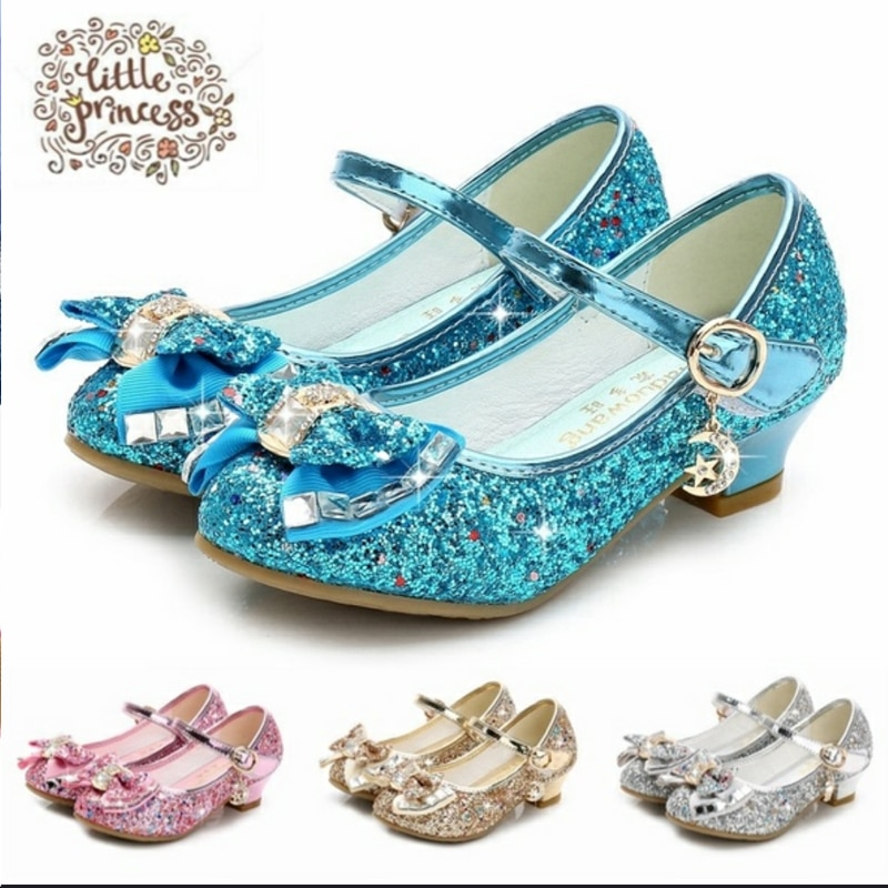 Butterfly Children Princess Shoes Girls Bowtie Candy Color Hight Heels Slip on Party Dance Sandals For Baby Kids