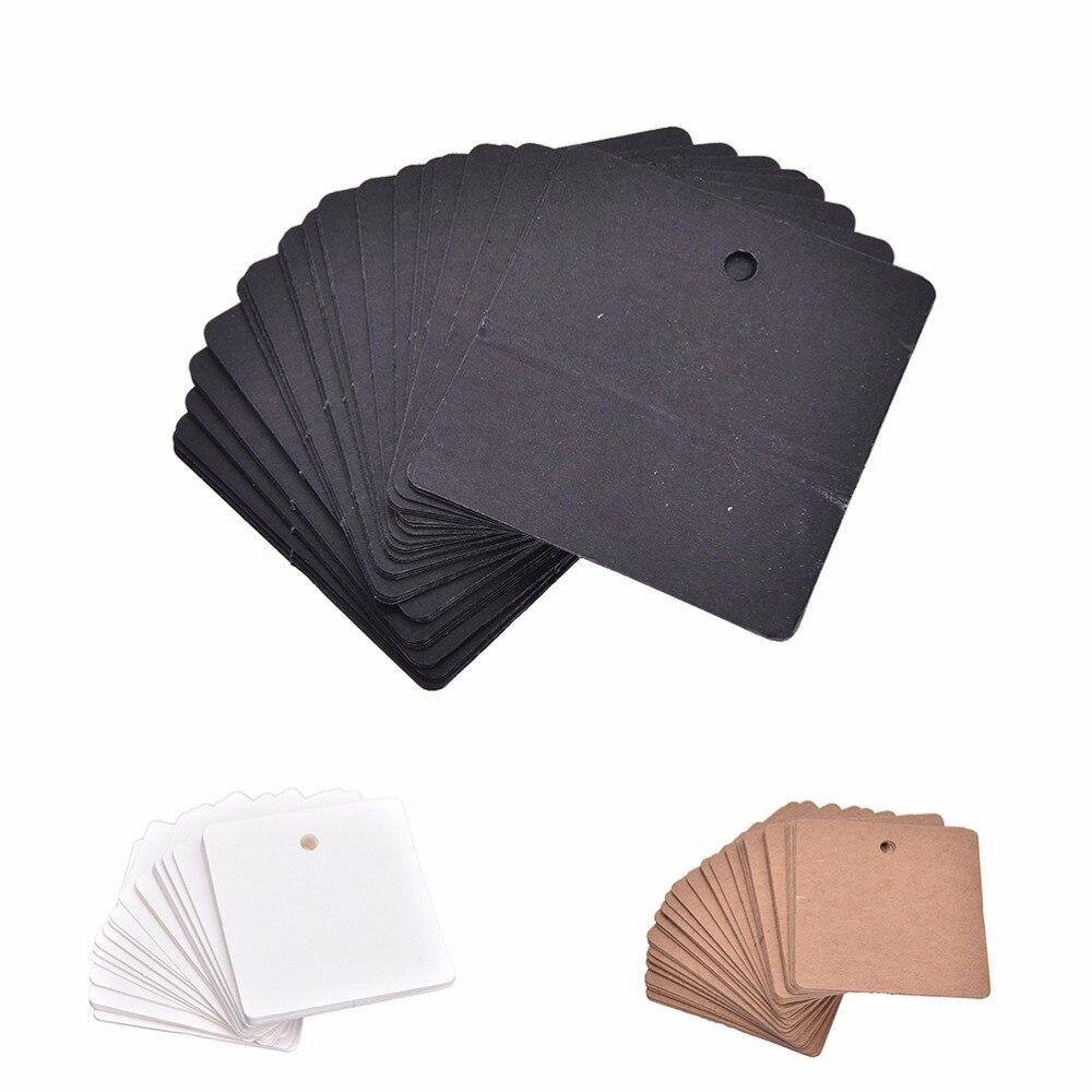 100 шт. черный белый цвет КОРИЧНЕВЫЙ DIY крафт бумажные бирки этикетки ценников для