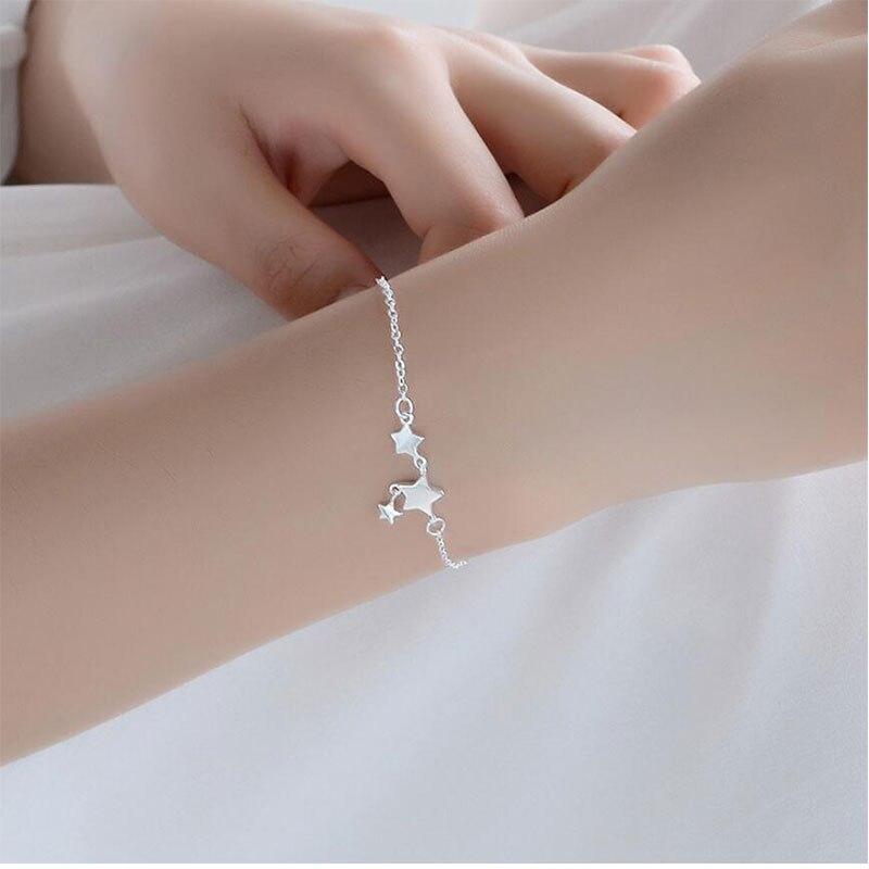 Anenjary, pulsera de moda novedosa tobillera plateada para mujer, tobillera de borla de estrellas de cinco puntas, joyería S-B131