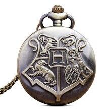 Retro Quartz Pocket Watch Necklace Chain Pendant Magic Hogwarts Harry Fob Watches Gifts Relogio De B