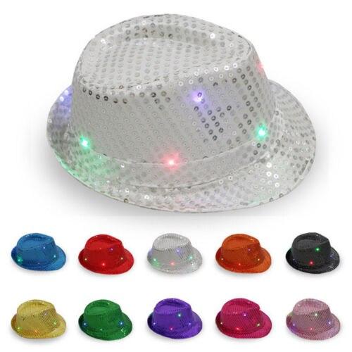 Nueva moda brillante sólido luz LED Fedora Trilby lentejuelas vestido de fantasía baile fiesta sombrero Unisex 1 pieza