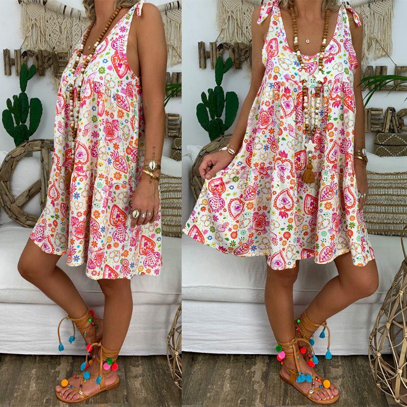 2020 Summer Dress Women Retro Boho Sleeveless Print Dots Beach Casual U Neck Tops Shirt Mini Dress Plus Size S-5XL