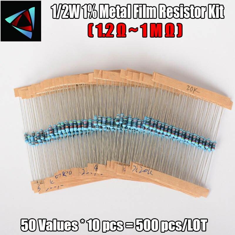 500Pcs 1/2W 1% 50 Valori 1.2R-1M ohm 0.5W Resistenze A Film Metallico Assortiti kit