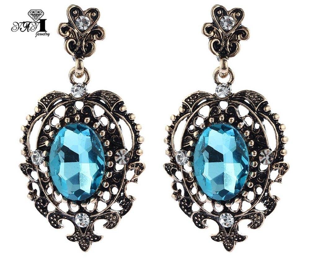 Joyería Yayi, novedad, pendiente colgante de cristal con diamantes de imitación de cristal azul, pendientes con gemas de Color dorado antiguo a la moda para mujer, regalo 1204