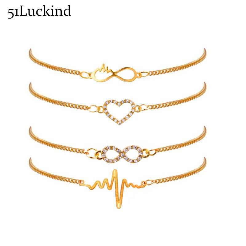 Набор браслетов Infinty Heart ECG, 5 шт./компл., Набор подвесок золотого цвета, цепь для пар, для женщин и девочек, Bff, бижутерии