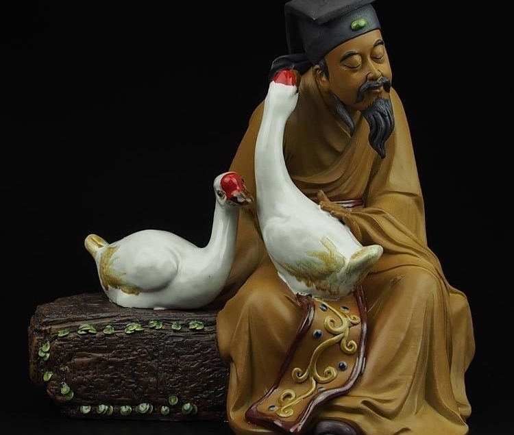 China Pottery Wucai Porcelain Art Decoration Wang Xizhi Goose Statue Sculpture