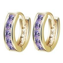 QIAMNI Fashion Jewelry Bijoux Earrings Girls  Gold Plating White Cubic Zirconia Women's Hoop Huggie Earrings for Valentine's Day