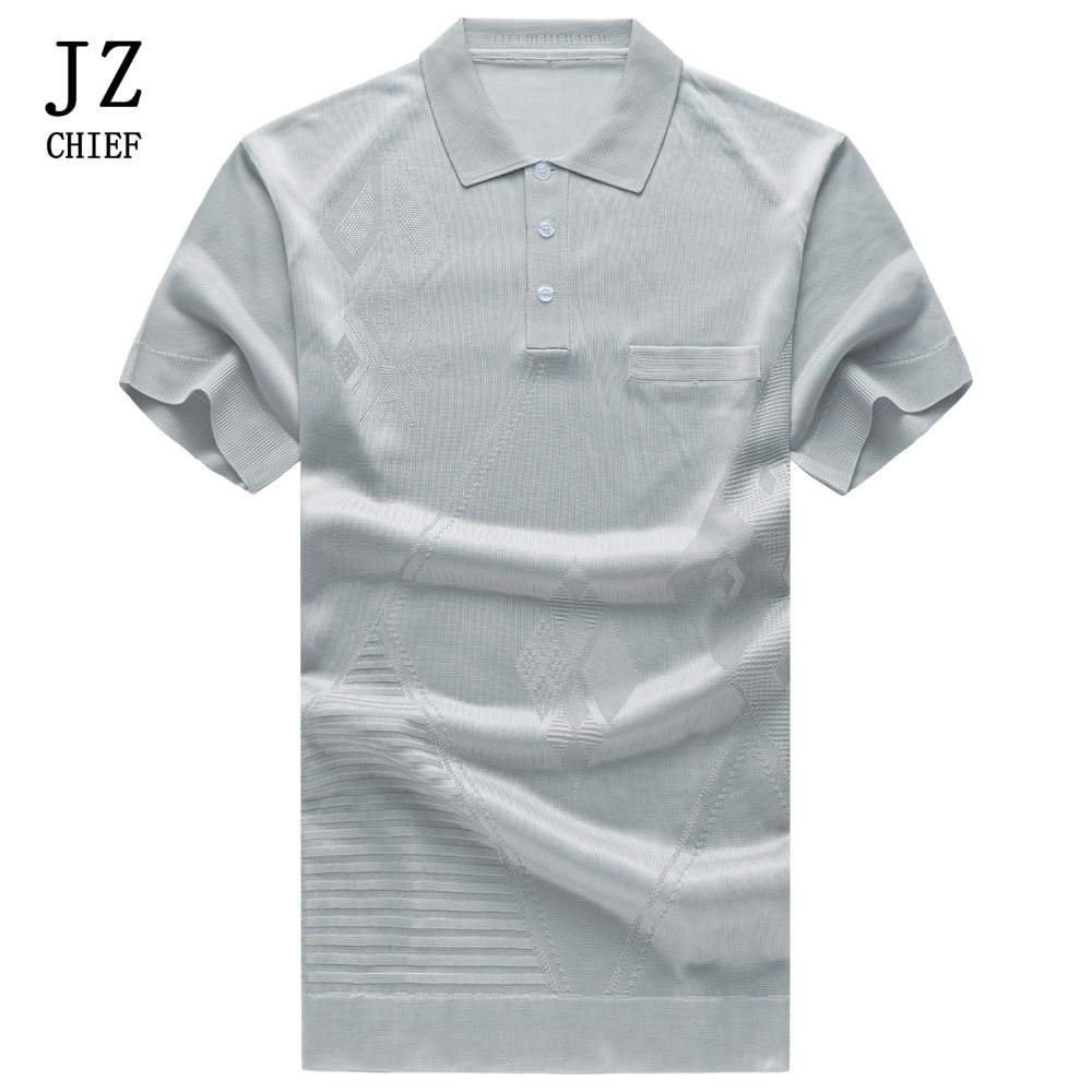 JZ Chief, camiseta tejida para hombre con bolsillo, camiseta de verano de manga corta, camiseta de seda natural Argyle transpirable, camiseta Formal de negocios, blusa