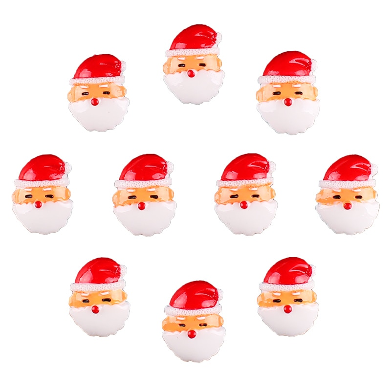 50 stücke Cute Christmas Santa Resin Scrapbooking Haarschleife Zentrum Handwerk Verschönerung Flatback Charme Cabachons