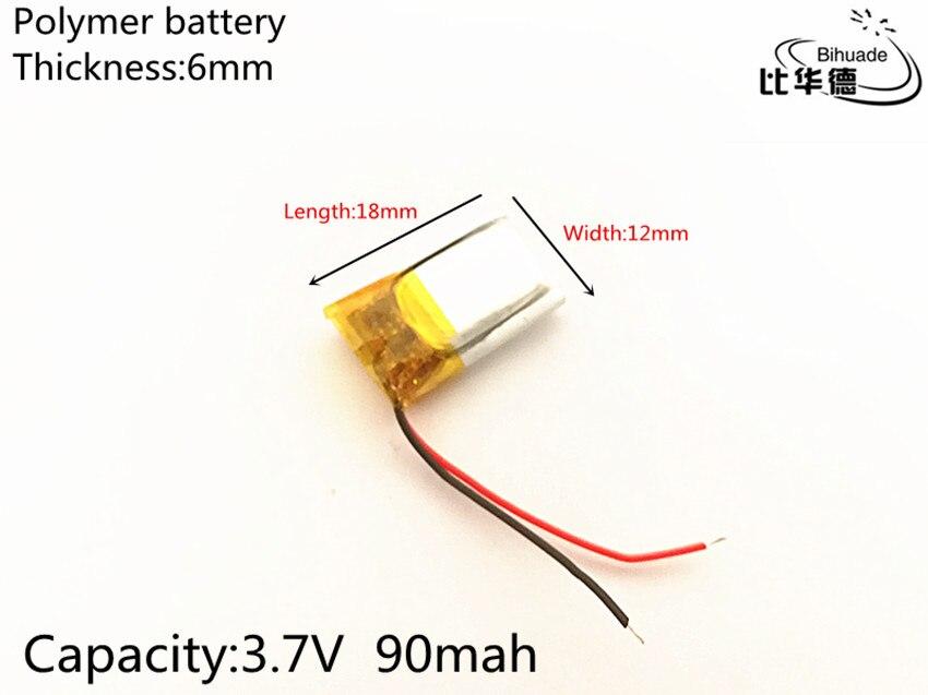 1 unids/lote 3,7 V 90 mAh 601218 de polímero de litio Li-Po li recargable de ion de las células de las baterías para Mp3 MP4 MP5 GPS PSP móvil bluetooth