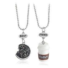 2 pièces/ensemble Miniature Oreo Biscuits & café pendentif collier pour femmes hommes meilleurs amis BFF anniversaire cadeau nourriture amitié bijoux