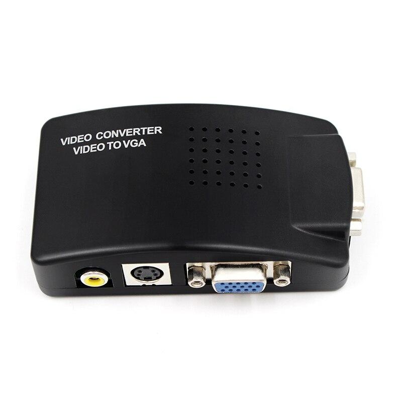 Ordenador portátil compuesto Video TV VGA/s-video/compuesto RCA/AV a VGA convertidor interruptor adaptador caja negra