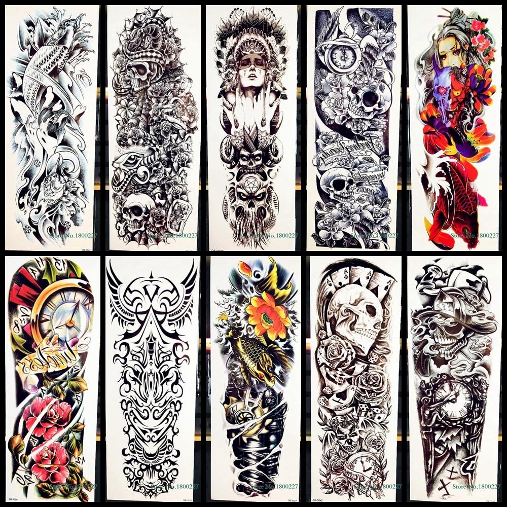 Tatuaje temporal para arte corporal de brazo completo, pegatina Tribal, Guerrero, Cráneo, tótem para hombres y mujeres, máquina falsa, pegatinas de tatuaje impermeables de peces