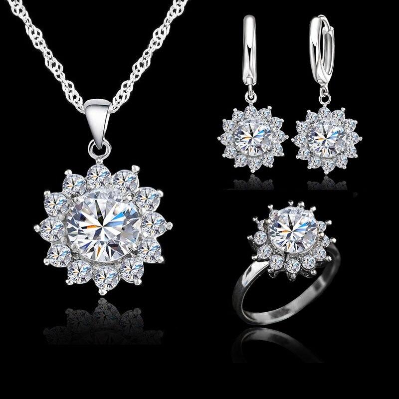 Elegante conjunto de joyas de plata de ley 925, collar con colgante, anillo para dedo, pendiente para mujer, bonita piedra blanca de Zirconia clara