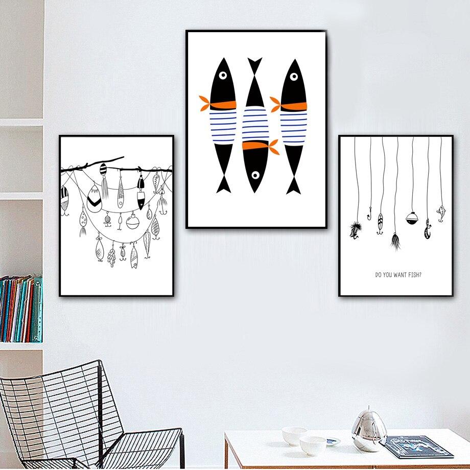 Abstrato Peixe Pesca Gancho Nordic Minimalismo Cartazes E Cópias da Arte Da Parede Da Lona Pintura de Parede Pictures For Living Room Decor