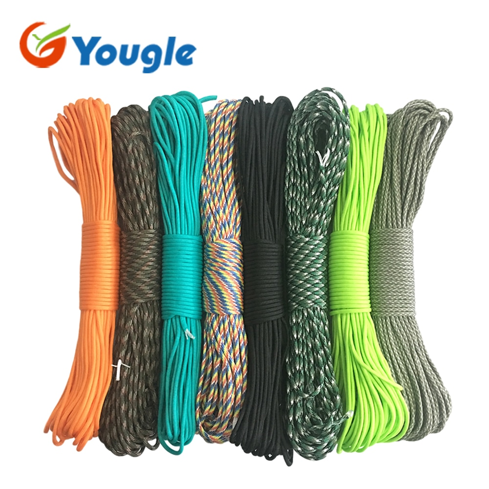 YOUGLE 550 Paracord Parachute Cord Lanyard Tent Rope Guyline Mil Spec Type III 7 Strand 50FT 100FT For Hiking Camping 215 Colors