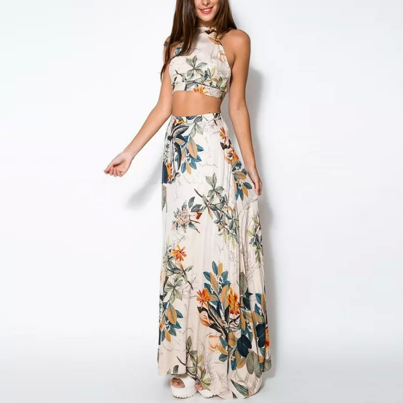 Moda verano mujeres bandage floral Casual Beach Dress Crop Top + Falda larga 2 uds Set