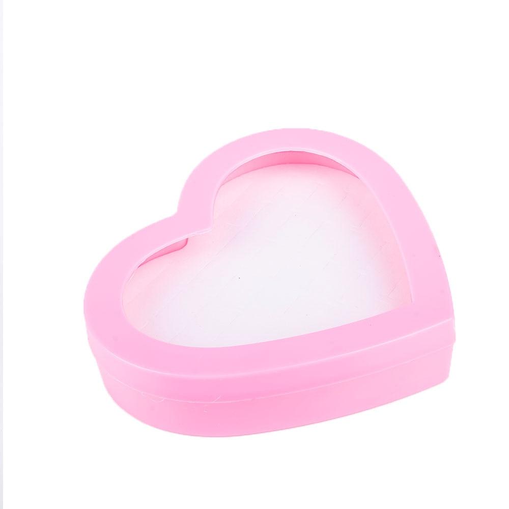 36 отверстий коробка для ювелирных изделий розовый чехол для хранения серег кольцо держатель кольцо коробка в форме сердца ювелирные изделия поставки