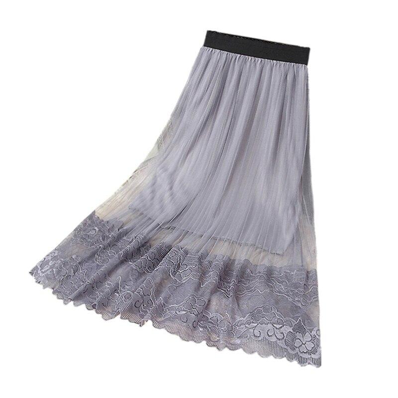B3214 verano 2019 nueva versión coreana de las mujeres de moda de encaje de red de alta cintura de tul Delgado a-line acolchado falda barato al por mayor