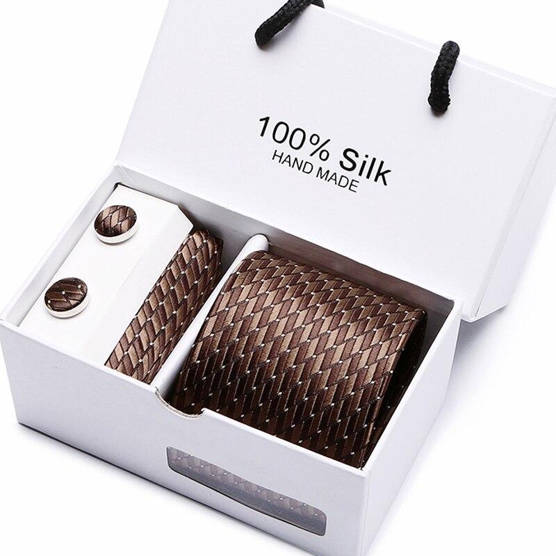 Geschenk box verpackung männer marke luxus krawatte tasche platz hochzeit herren krawatten seide krawatte set manschettenknöpfe taschentuch