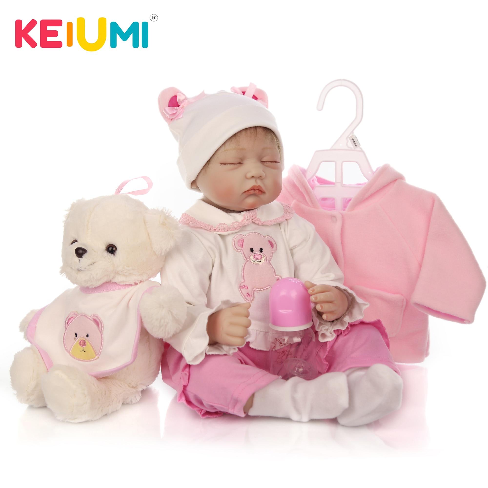 دمية سيليكون ناعمة للبنات ، لعبة طفل واقعية تولد من جديد ، دمية أميرة مع دب ، 55 سنتيمتر ، 22 بوصة