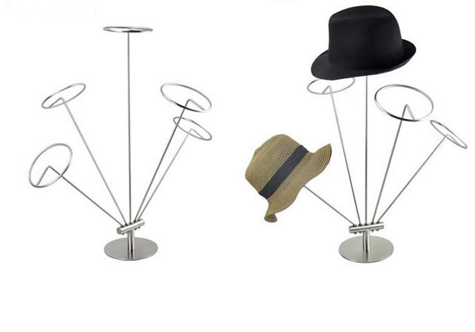 Plata de Metal de pantalla Rack sombrero pantalla sombrero soporte de metal inoxidable escritorio sombrero soporte rack superior rack