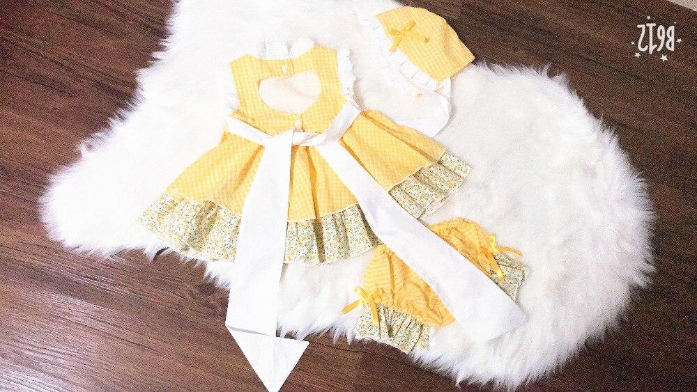 Vestido Vintage de Pascua para primavera y verano de 3 uds., vestido español con pompón de princesa, vestido amarillo a cuadros con flores, vestido de fiesta Lolita