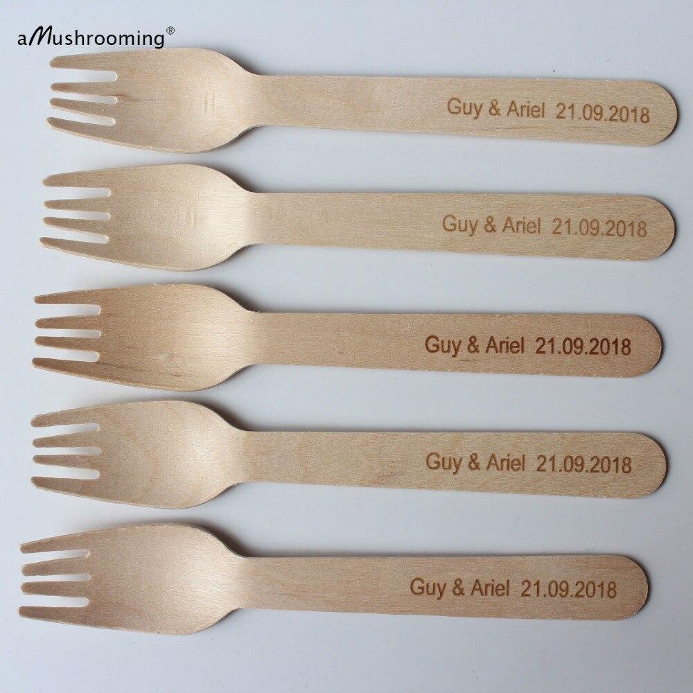 25 tenedores de madera personalizados de 6,5 pulgadas de peso pesado con nombre y fecha Biodegradable para pastel de boda, tenedores, cubiertos para servir pícnic